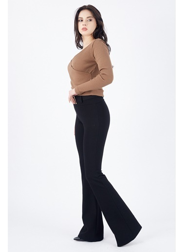 Sense Sense  Fermuarlı Çizgili Ottoman Pantolon  Etk  Siyah